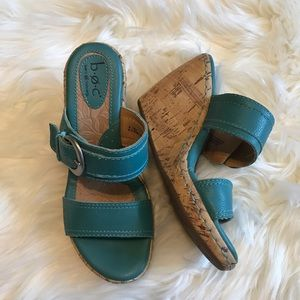 b.o.c. Leather Turquoise Wedges